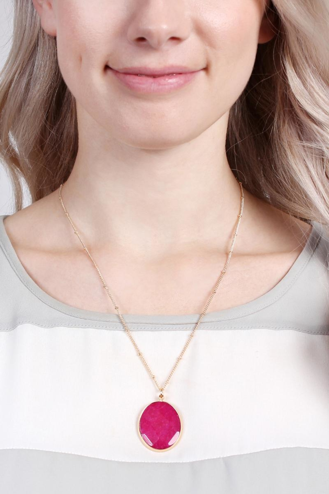 Riah Fashion Natural-Stone Delicate Pendant-Necklace - Front Full Image