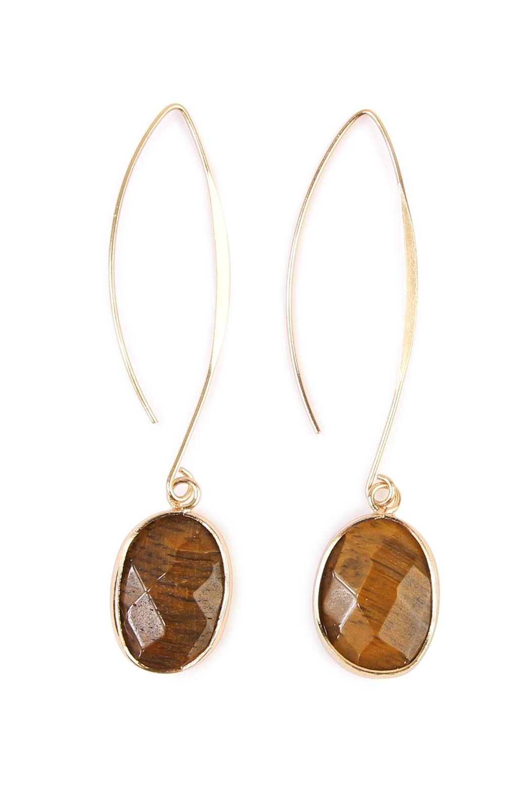 Riah Fashion Natural Stone Drop Earrings Front Cropped Image