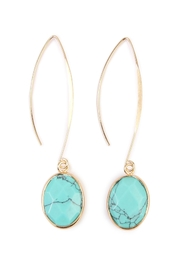 Riah Fashion Natural Stone Drop Earrings - Front cropped