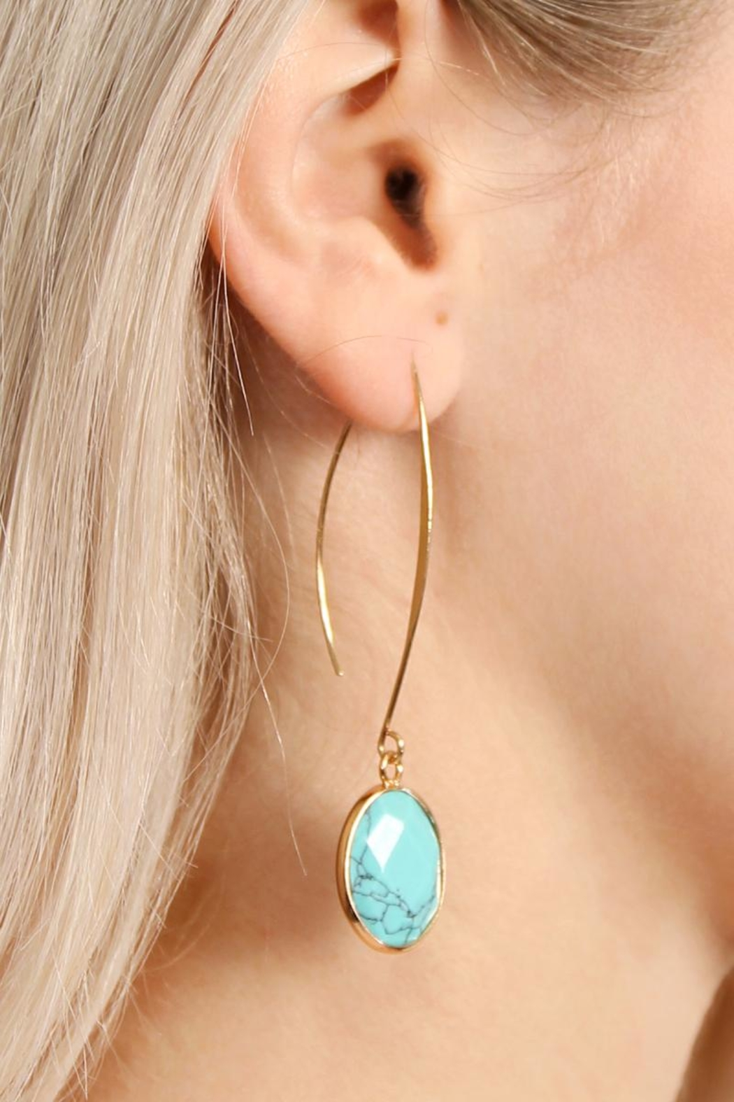 Riah Fashion Natural Stone Drop Earrings - Front Full Image