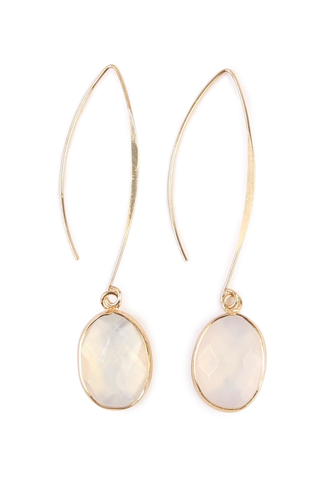 Riah Fashion Natural Stone Drop Earrings - Front Cropped Image
