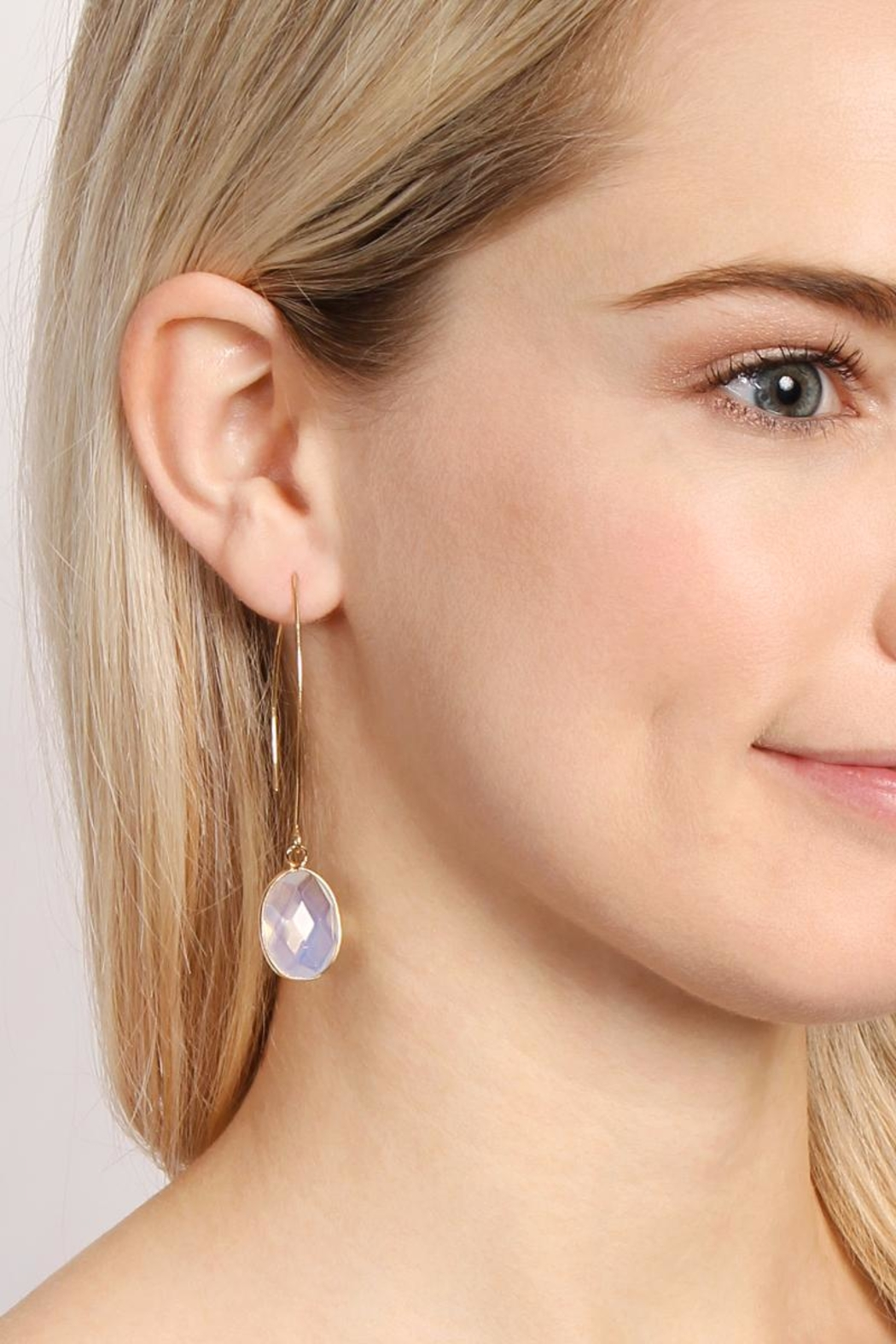 Riah Fashion Natural Stone Drop Earrings - Side Cropped Image