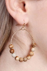 Riah Fashion Natural Stone Earrings - Front full body