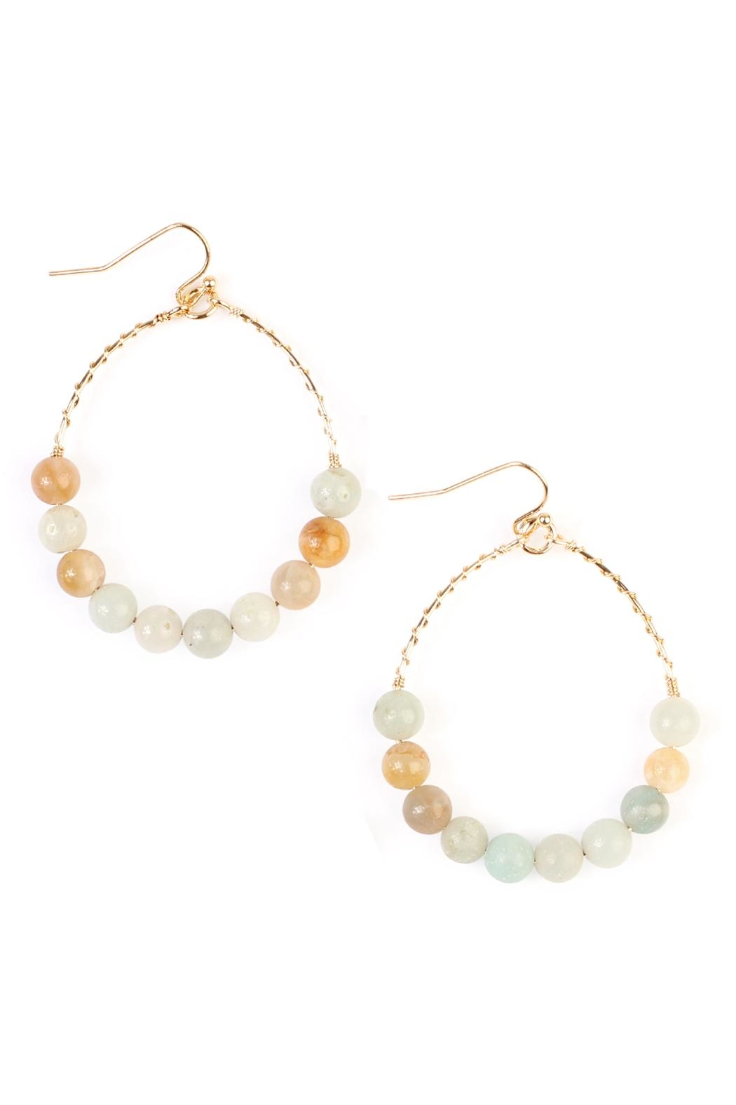 Riah Fashion Natural Stone Earrings - Front Cropped Image