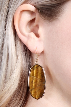 Riah Fashion Natural Stone Hook-Earrings - Alternate List Image