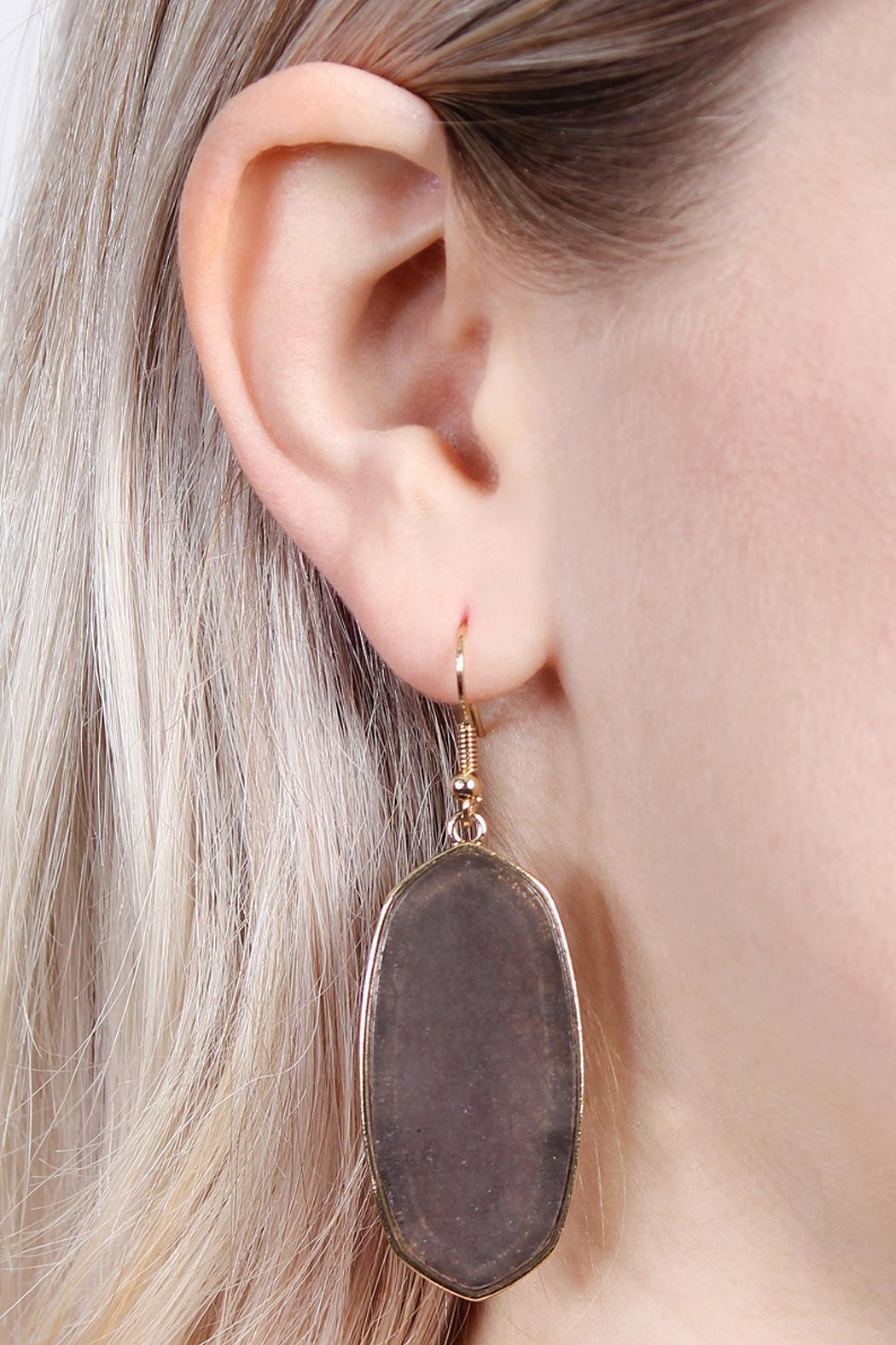 Riah Fashion Natural Stone Hook-Earrings - Front Full Image