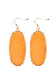 Riah Fashion Natural Stone Hook-Earrings - Front cropped