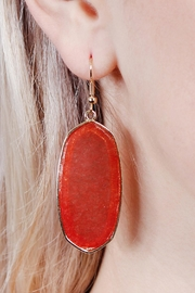 Riah Fashion Natural Stone Hook-Earrings - Front full body