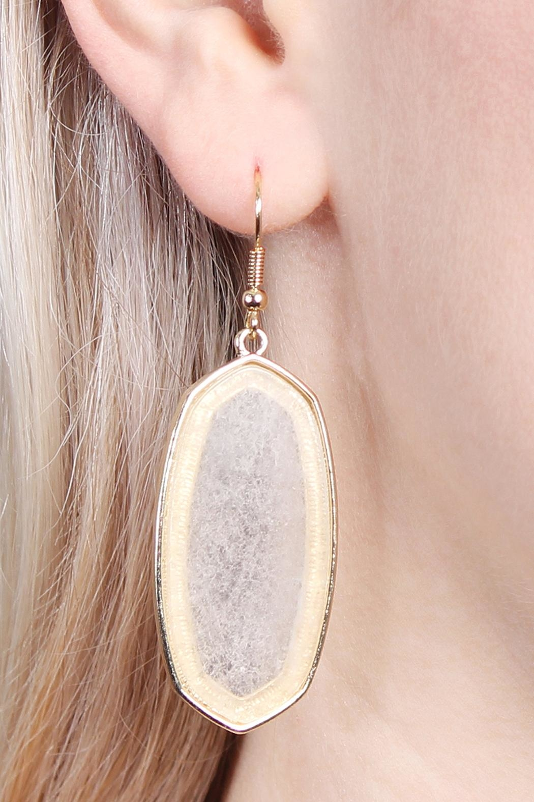 Riah Fashion Natural Stone Hook-Earrings - Side Cropped Image