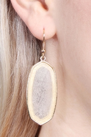Riah Fashion Natural Stone Hook-Earrings - Side cropped