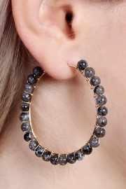 Riah Fashion Natural Stone Hoop-Earrings - Front full body