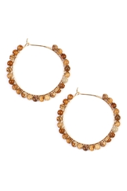 Riah Fashion Natural Stone Hoop-Earrings - Front cropped