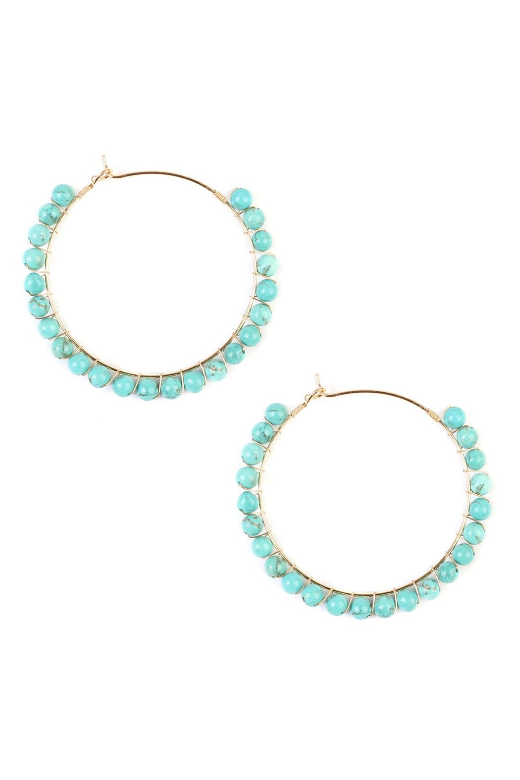 Riah Fashion Natural Stone Hoop-Earrings - Front Cropped Image
