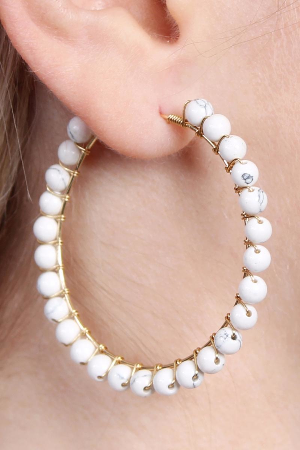 Riah Fashion Natural Stone Hoop-Earrings - Front Full Image