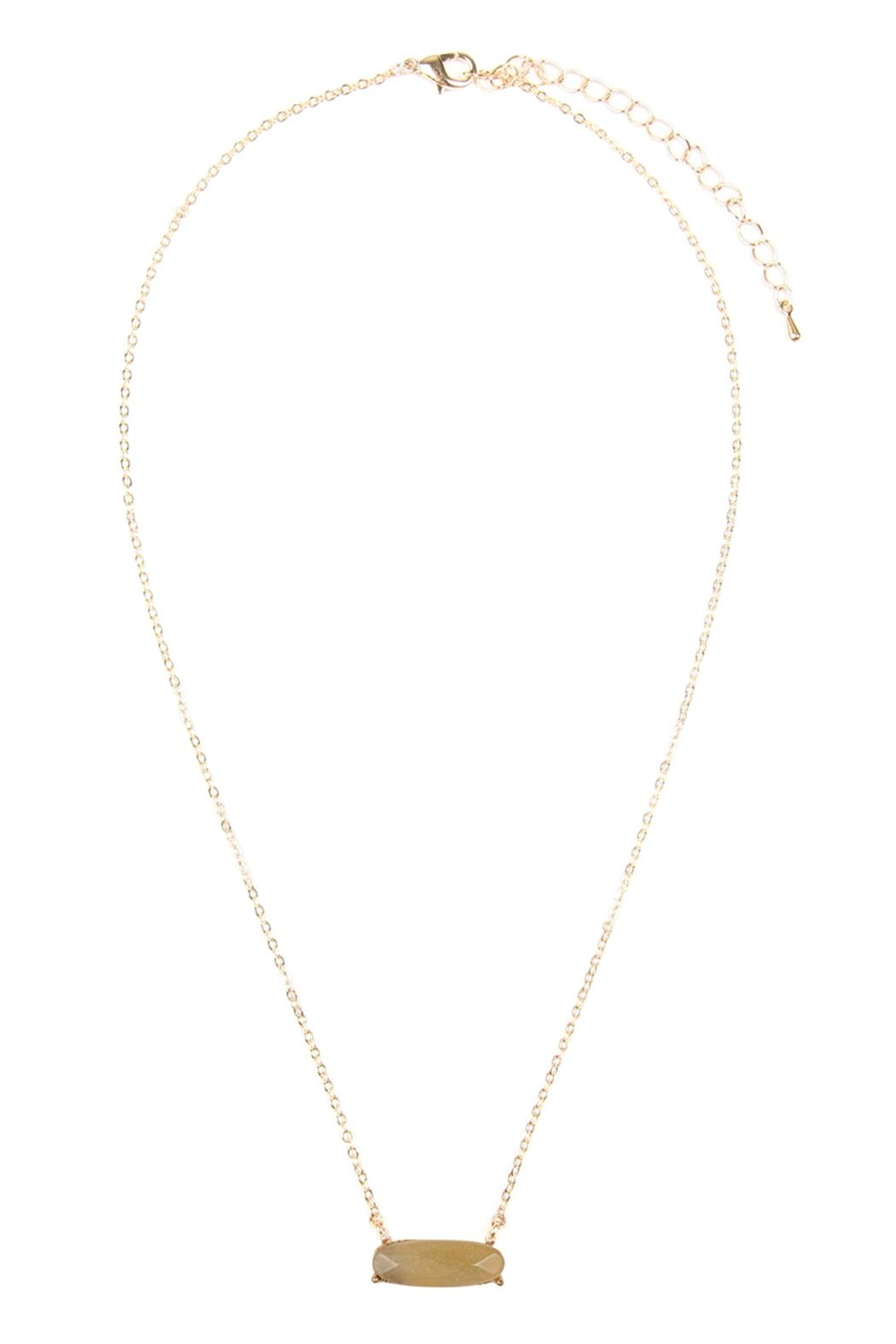 Riah Fashion Natural-Stone Oval Necklace - Front Cropped Image