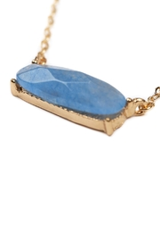 Riah Fashion Natural-Stone Oval Necklace - Front full body