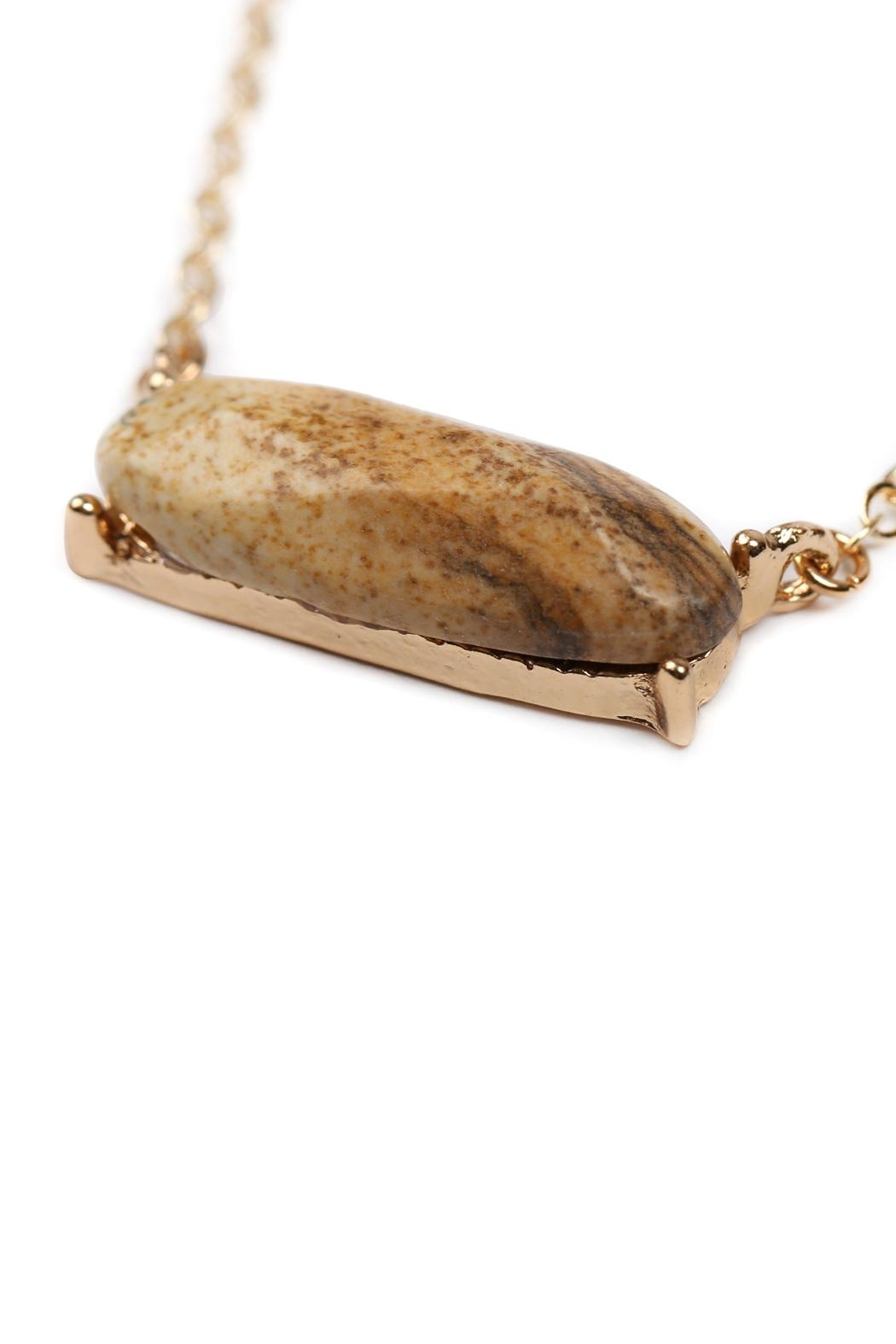Riah Fashion Natural-Stone Oval Necklace - Front Full Image