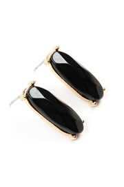 Riah Fashion Natural-Stone Oval-Post-Earrings - Back cropped