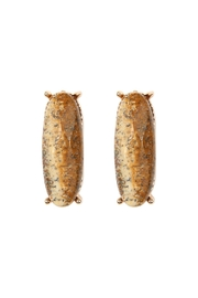Riah Fashion Natural-Stone Oval-Post-Earrings - Front cropped