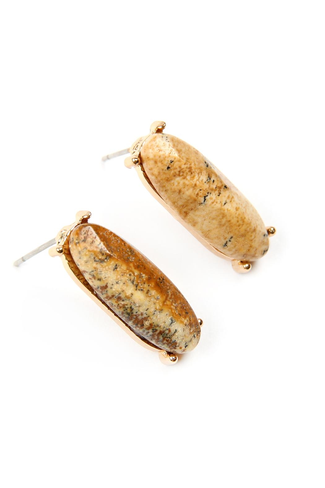 Riah Fashion Natural-Stone Oval-Post-Earrings - Side Cropped Image