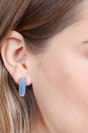 Riah Fashion Natural-Stone Oval-Post-Earrings - Side cropped