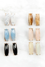 Riah Fashion Natural-Stone Oval-Post-Earrings - Front full body