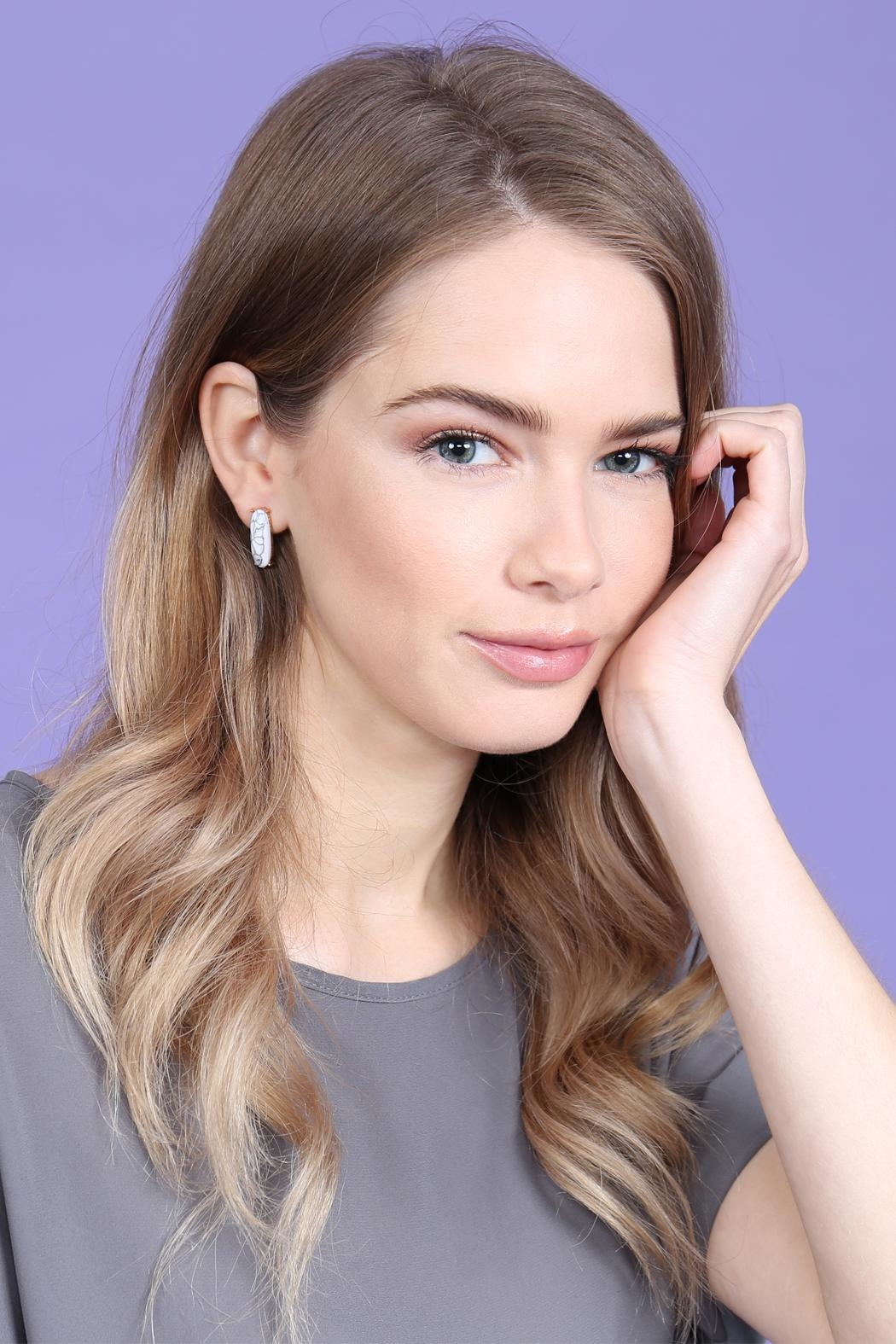 Riah Fashion Natural-Stone Oval-Post-Earrings - Front Full Image