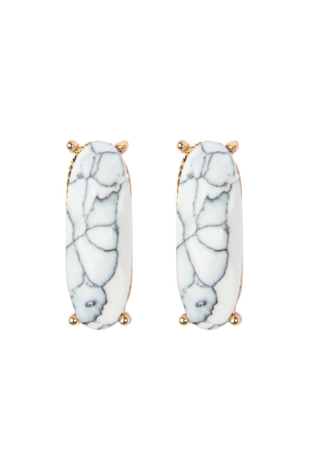 Riah Fashion Natural-Stone Oval-Post-Earrings - Front Cropped Image
