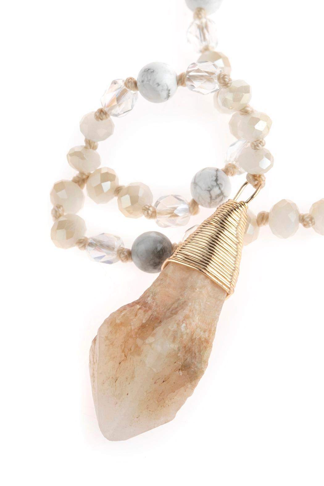 Riah Fashion Natural Stone Pendant-Necklace - Front Full Image