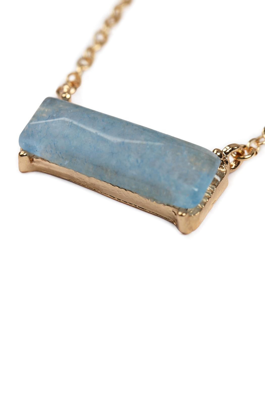 Riah Fashion Natural-Stone Rectangle Necklace - Front Full Image