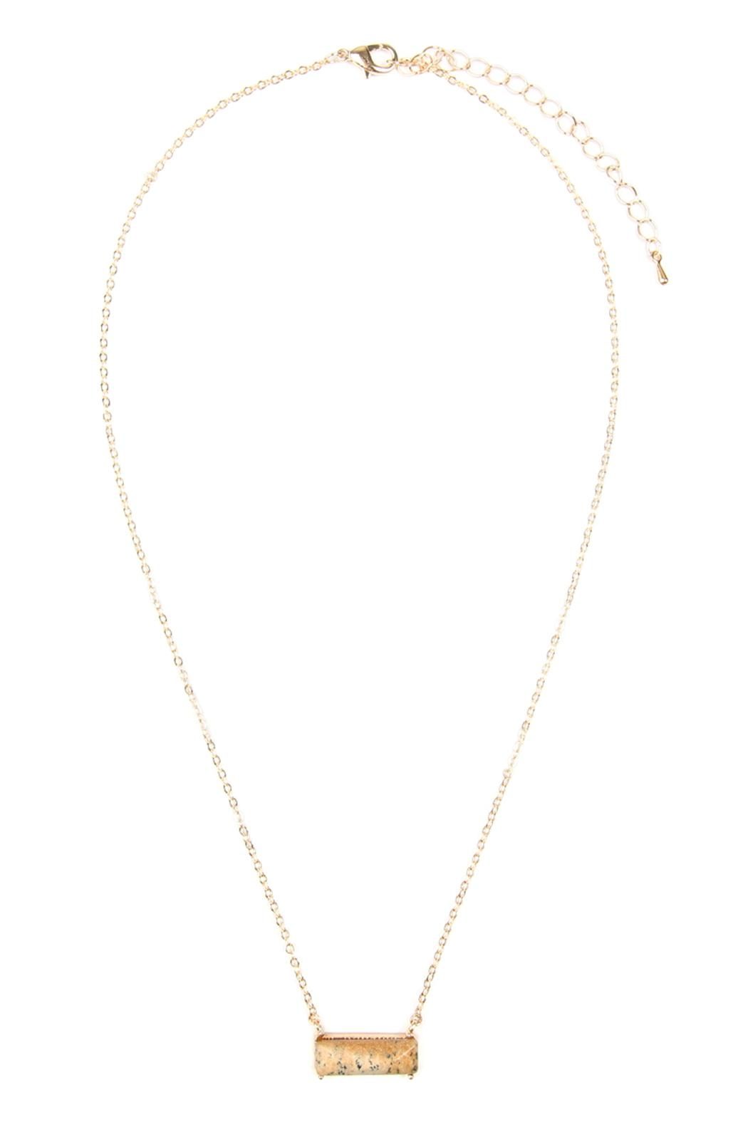 Riah Fashion Natural-Stone Rectangle Necklace - Front Cropped Image