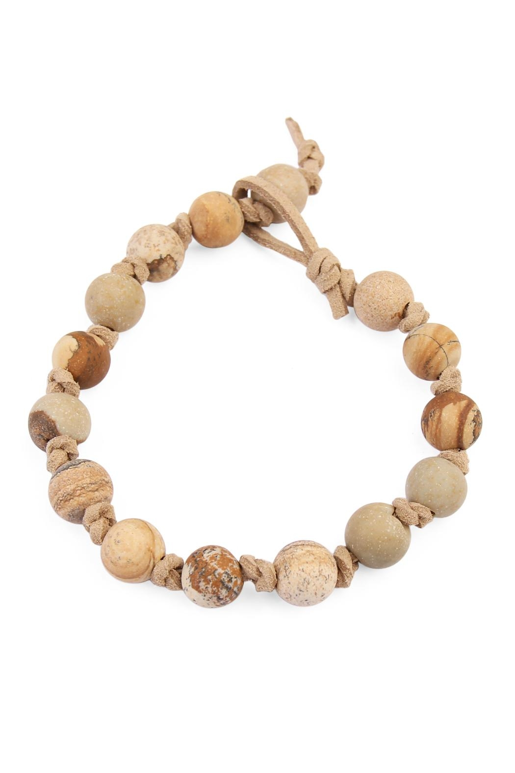 Riah Fashion Natural-Stone Suede Bracelet - Front Cropped Image