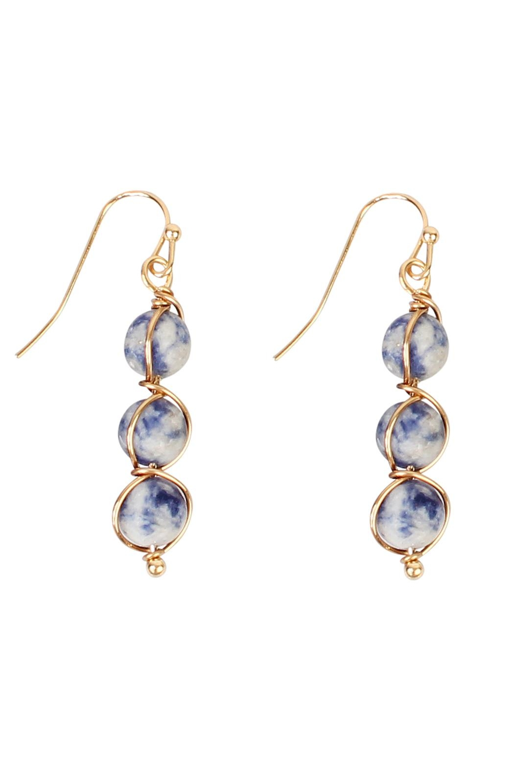 Riah Fashion Natural Stone Wired-Earrings - Front Cropped Image