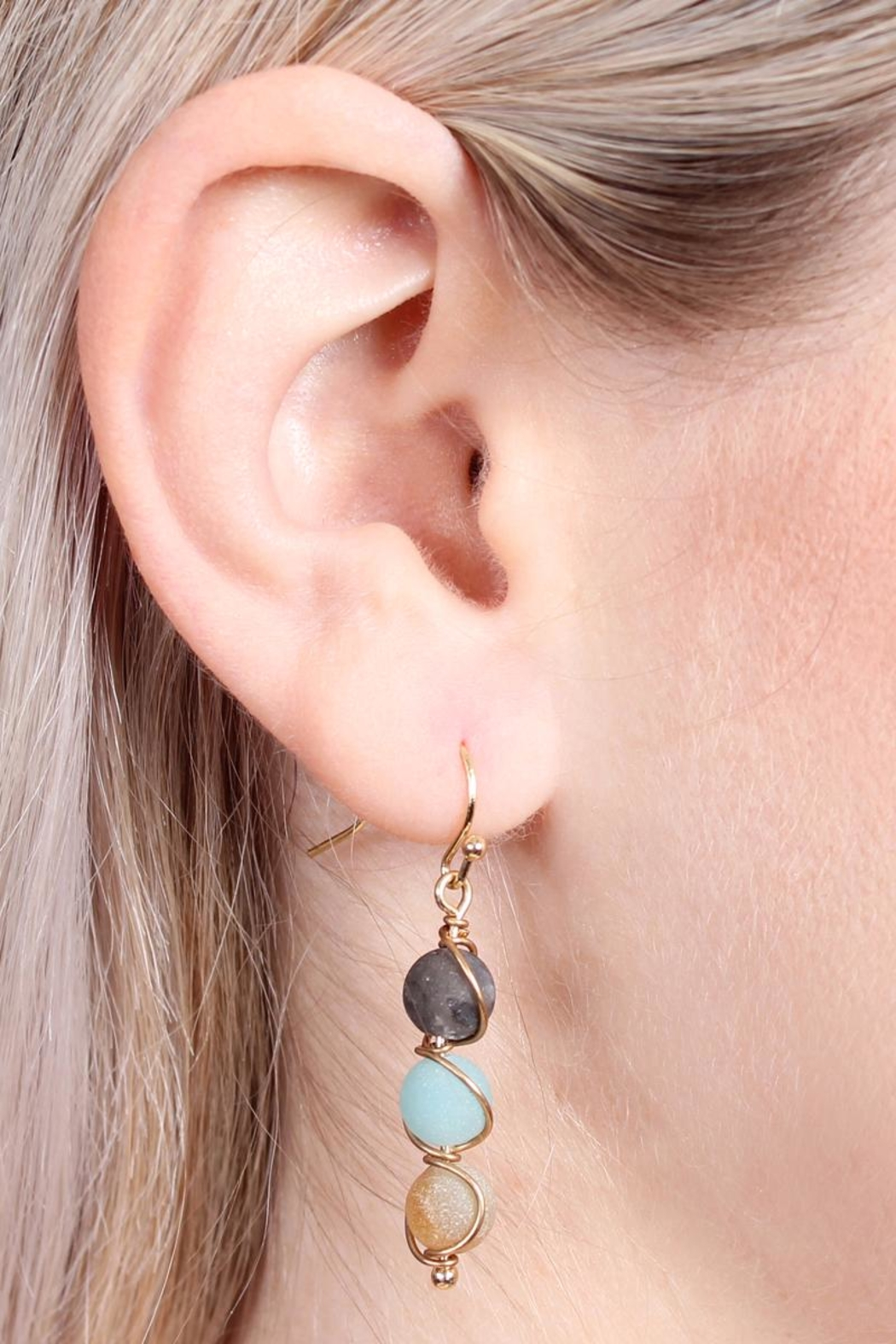 Riah Fashion Natural Stone Wired-Earrings - Front Full Image