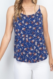 Riah Fashion Navy-Coral-Floral-Top - Product Mini Image