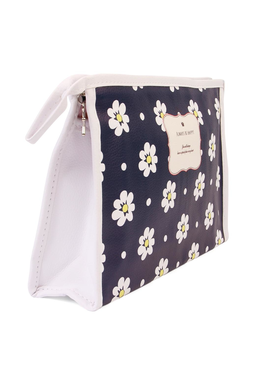Riah Fashion Daisy Large Cosmetic Bag - Front Full Image