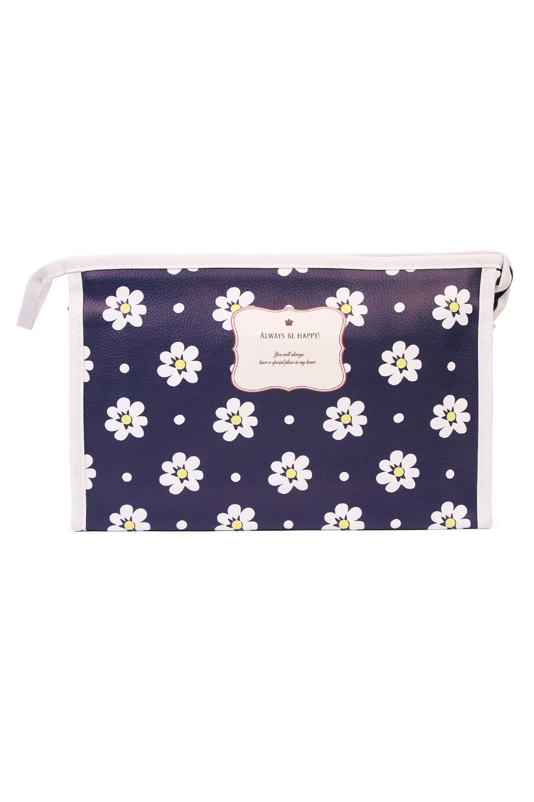 Riah Fashion Daisy Large Cosmetic Bag - Main Image