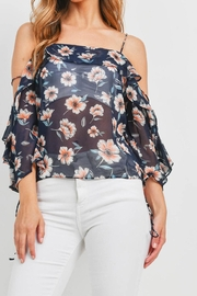 Riah Fashion Navy-Floral-Top - Product Mini Image