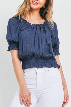 Riah Fashion Navy Gold Top - Product List Image