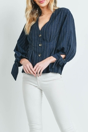 Riah Fashion Navy Stripes Top - Front cropped