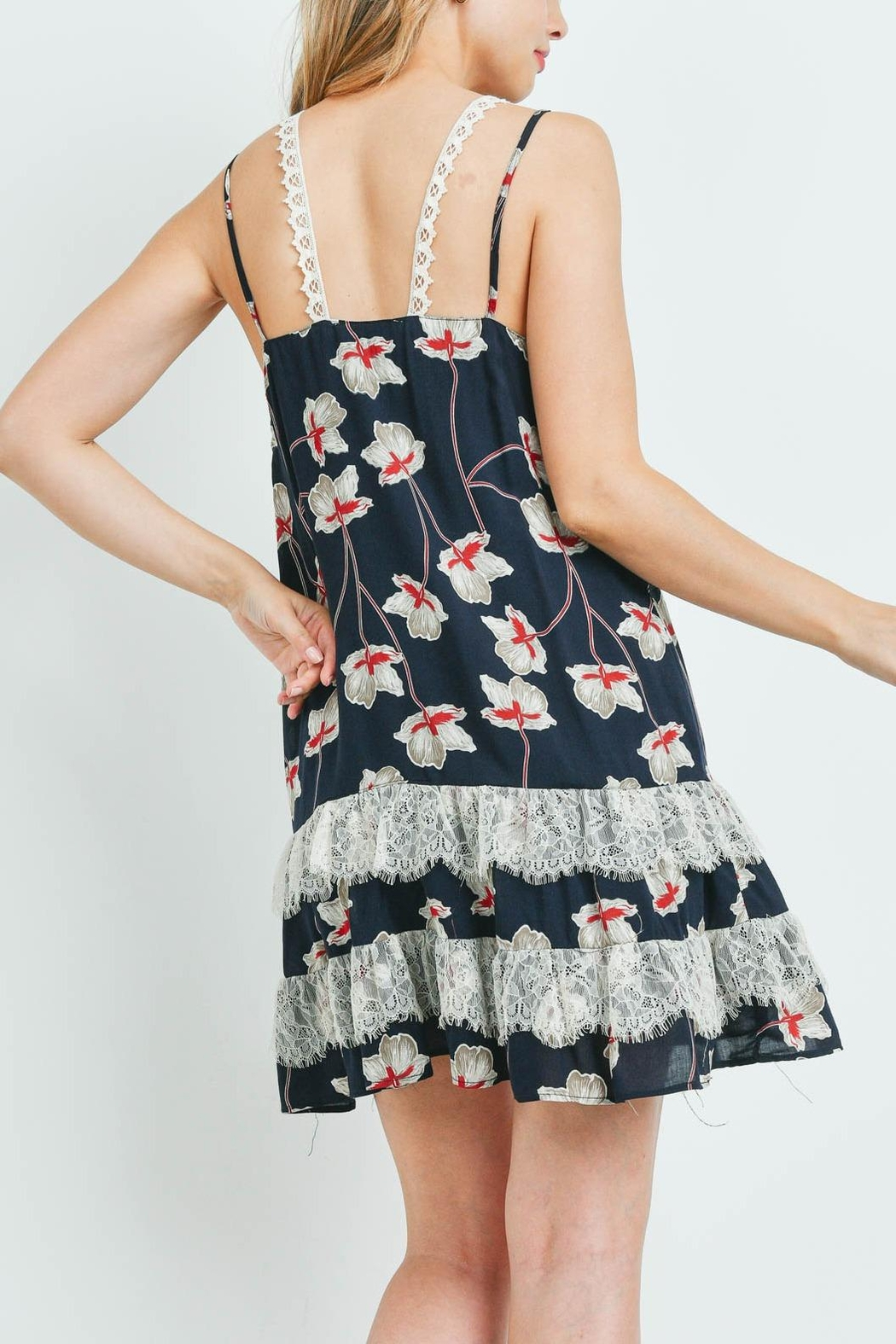 Riah Fashion Navy-With-Flower-Print-Dress - Front Full Image