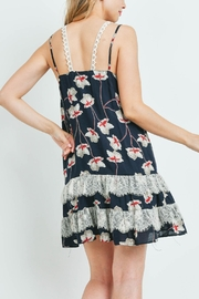 Riah Fashion Navy-With-Flower-Print-Dress - Front full body