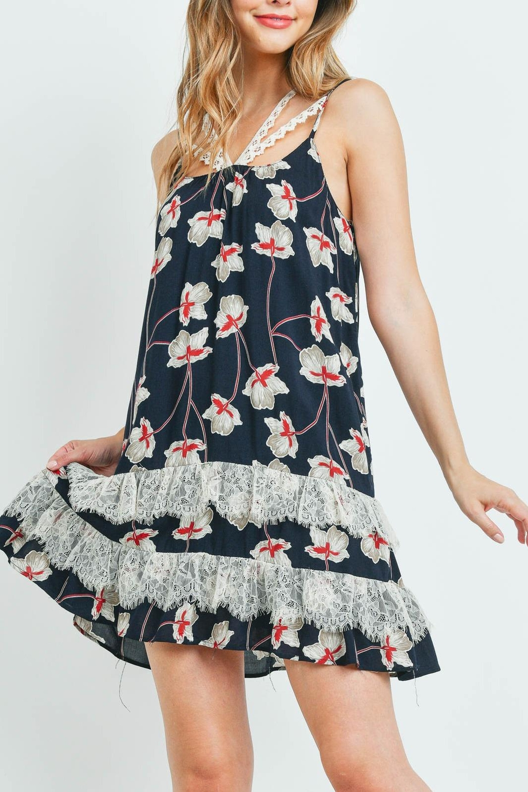 Riah Fashion Navy-With-Flower-Print-Dress - Side Cropped Image