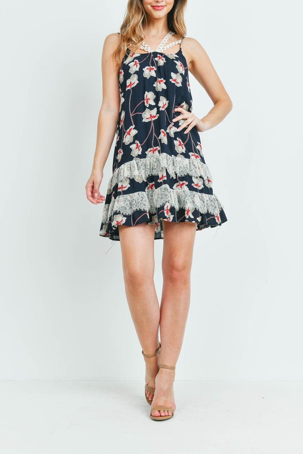 Riah Fashion Navy-With-Flower-Print-Dress - Back Cropped Image