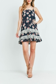 Riah Fashion Navy-With-Flower-Print-Dress - Back cropped