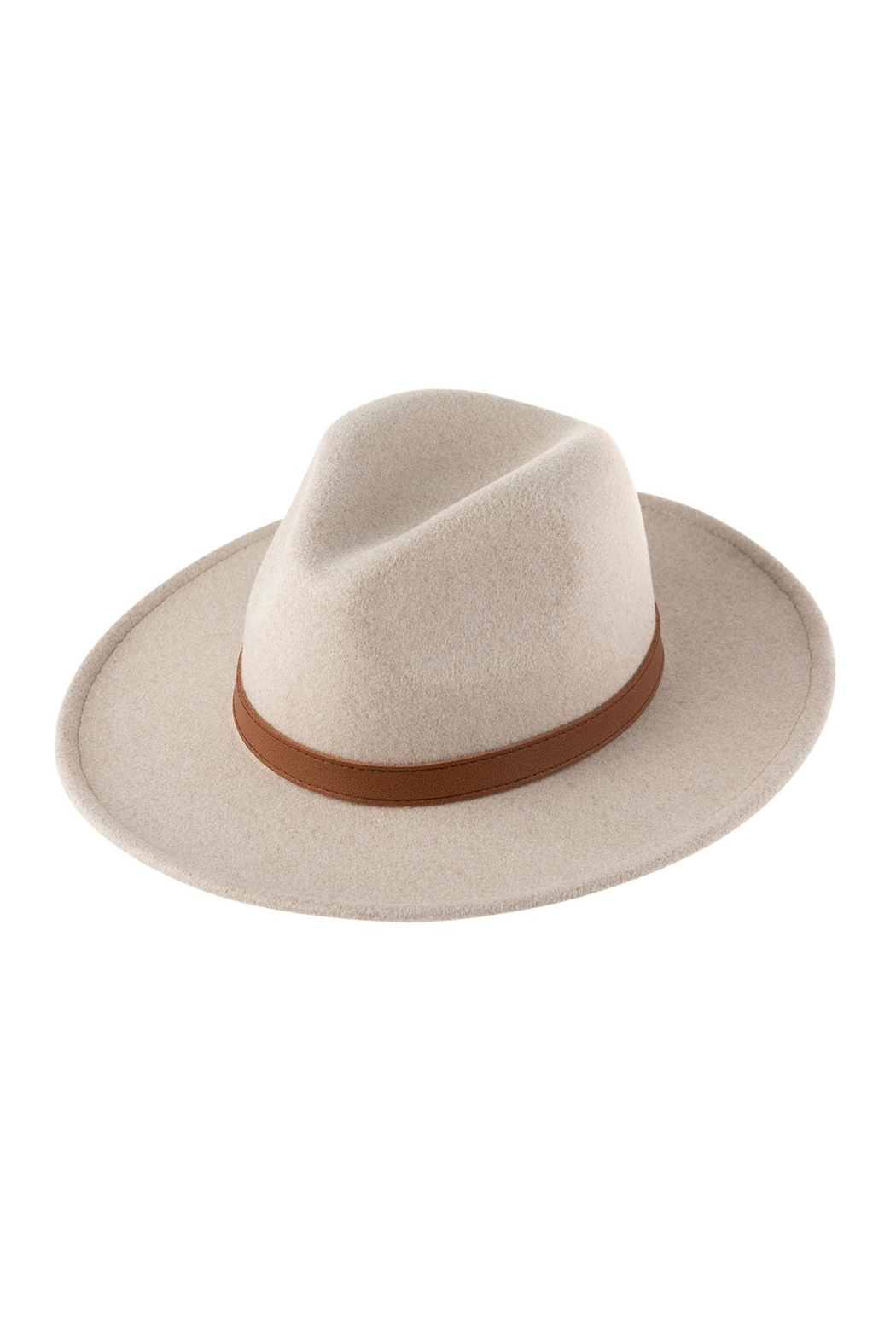 Riah Fashion Neutral Colors Fashion Hat With Leather Belt Accent - Front Full Image