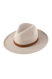 Riah Fashion Neutral Colors Fashion Hat With Leather Belt Accent - Front full body