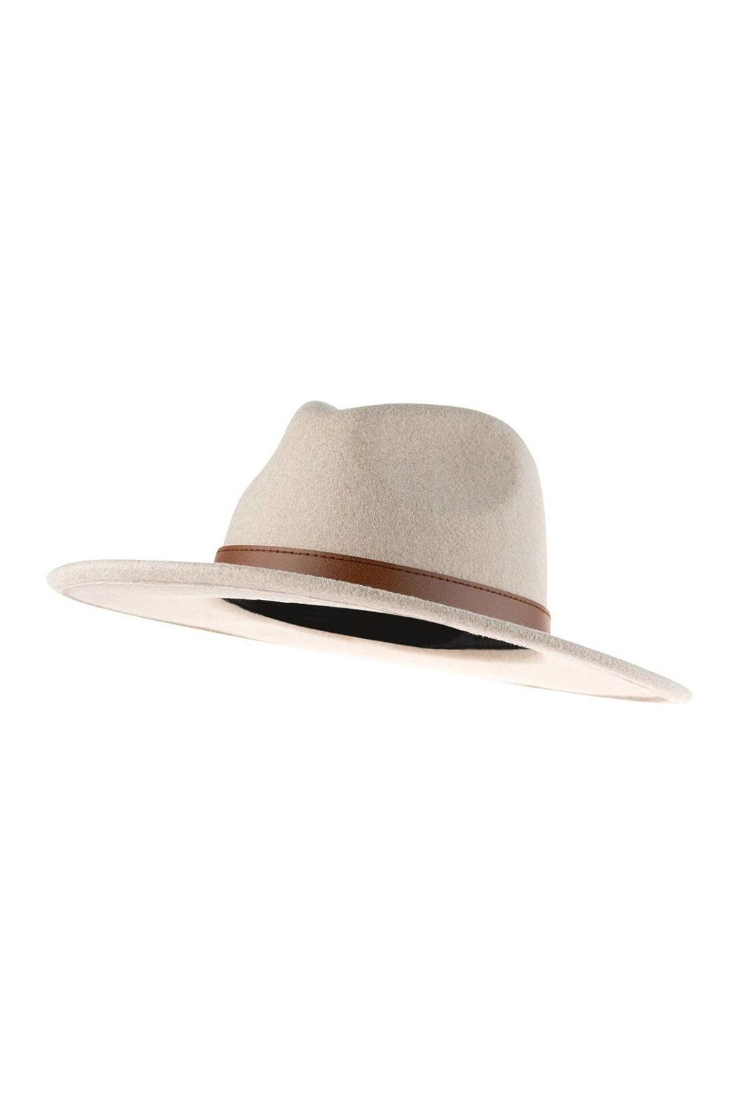 Riah Fashion Neutral Colors Fashion Hat With Leather Belt Accent - Side Cropped Image