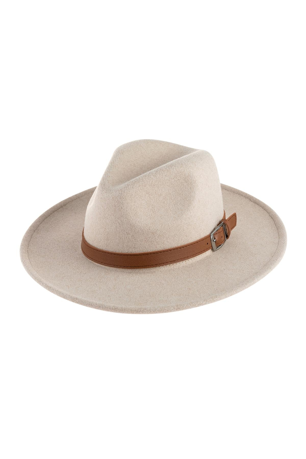 Riah Fashion Neutral Colors Fashion Hat With Leather Belt Accent - Main Image