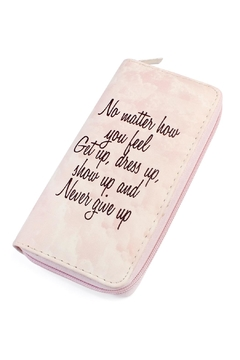 "Shoptiques Product: ""Never-Give-Up"" Print Zipper-Wallet"